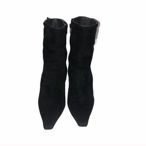 Stuart Weiztman Pointed Toe Suede Calf Boots